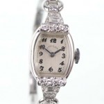 Lady Elgin watch with platinum and diamond case