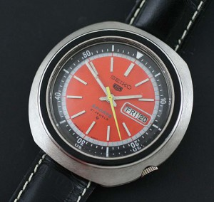 Seiko 5 orange dial large case watch