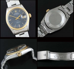 Rolex Air-King-Date with gold bezel and blue dial