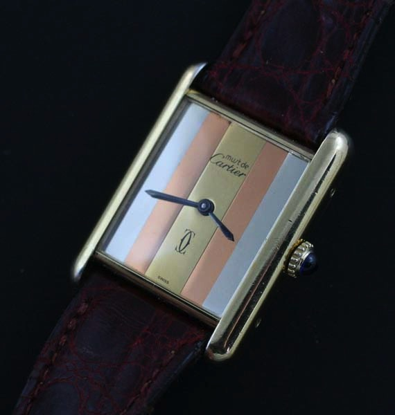 Cartier Tank with tri-gold dial