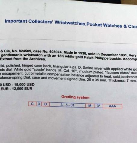 Vinatge Patek auction description