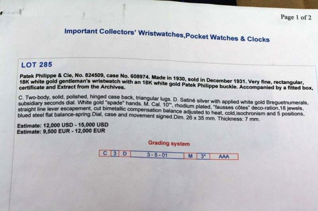 Vinatge Patek auction description