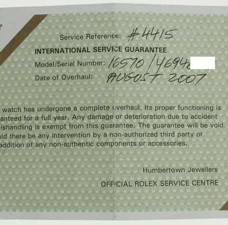 Rolex Service papers