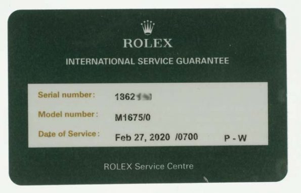 Rolex Canada service papers